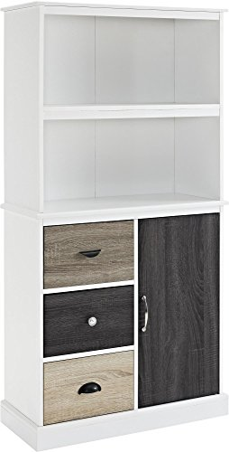 - Ameriwood Home 9634096 Mercer Storage Bookcase with Multicolored Door and Drawer Fronts, White