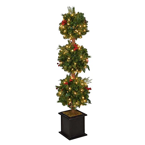 4 ft. Pre-Lit Winslow Fir Artificial Christmas Potted Tree with Clear Lights Christmas Topiary