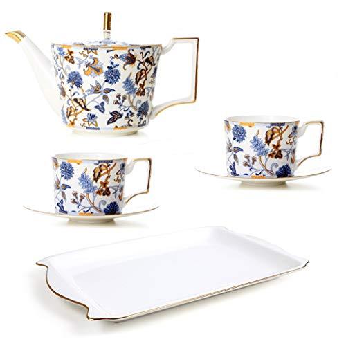 CSQ Coffee Cup Five Sets of Tea Sets, Black Tea Coffee Restaurant Tea Set Scented Tea Teapot Ceramic Teapot Capacity: 1150ml Afternoon Tea (Color : #2) by Tea set-CSQ (Image #4)