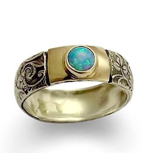 Amazon.com: Filigree Opal silver ring, Sterling silver and