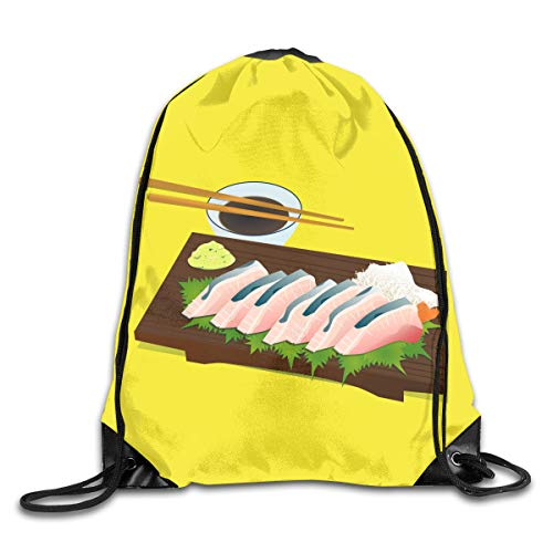 Chopsticks Sashimi Wasabi Sushi Patterned Themed Printed Drawstring Bundle Book School Shopping Travel Back Bags Draw String Gym Backpack Bulk Girl Boy Women Men