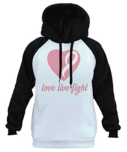 Interstate Apparel Men's Love Live Fight Breast Cancer Ribbon Heart Tee B1047 Ply Raglan Baseball Hoodie 2X-Large