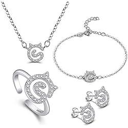 Collar de mujer con pendientes, plata chapada en oro, juego de joyas para mujeres, niñas, gatos, pulseras, pendientes, anillo para mujer, cadena ajustable, charm con caja de regalo, regalo de Navidad