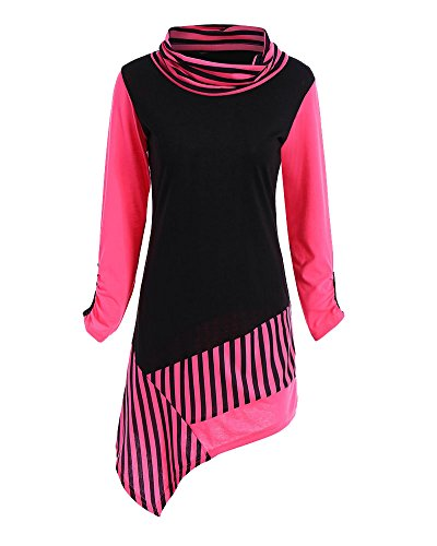 Mujeres Manga Blusa Rayas Camisa Ropa Camiseta Vestir Rose De Larga rRAFxvqrwn