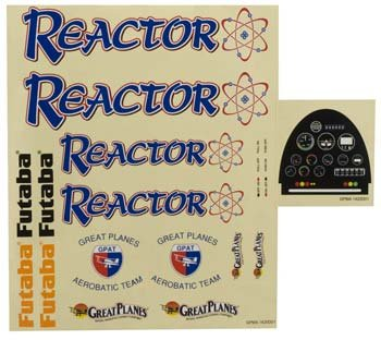 Great Planes Decal Sheet 1.60 Reactor ARF Vehicle Part