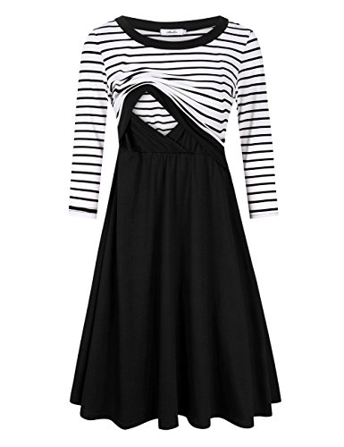 MissQee Maternity Dress Women's Stripe 3/4 Sleeve Nursing Dress for Breastfeeding Black L by MissQee