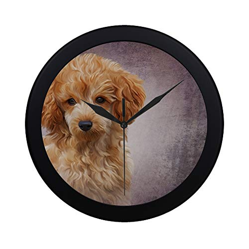 THKDSC Modern Simple Drawing Red Toy Poodle Puppy Wall Clock Indoor Non-Ticking Silent Quartz Quiet Sweep Movement Wall Clcok for Office,Bathroom,livingroom Decorative 9.65 Inch
