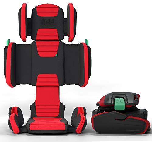 mifold hifold fit-and-fold highback booster car seat (Racing Red)