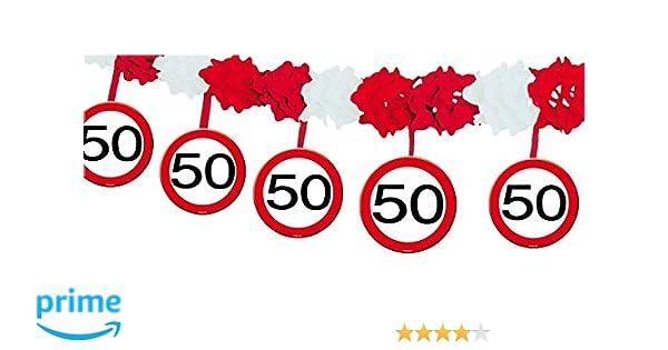 Folat Guirnalda de Papel con número 50, señal de tráfico, Longitud 4 m, Material de Papel