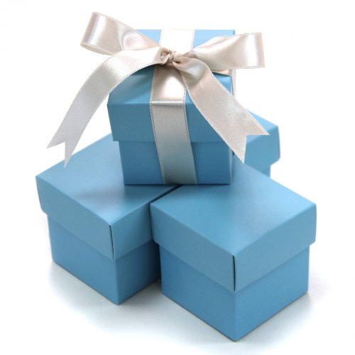 Koyal 2-Piece 50-Pack Square Favor Boxes, Baby Blue