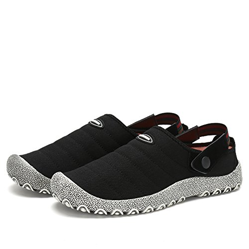 Voovix Clog Mule Men Women Kids Slipper Slip-On Canvas Walking Shoes Outdoor & Indoor Unisex With (Distressed Canvas Slip Ons Shoe)