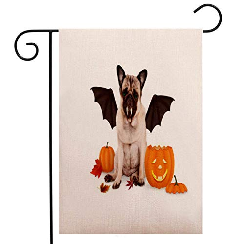 BEIVIVI Custom Double Sided Seasonal Garden Flag Pug Dog Dressed up as bat for Halloween with Funny Pumpkin Lantern Welcome House Flag for Patio Lawn Outdoor Home Decor ()