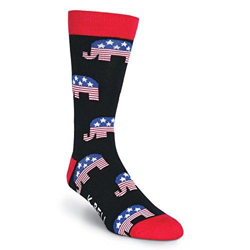 K. Bell Socks Men's Celebrating Americana Crew Socks - Made in USA, Republican (Black), Shoe Size: ()