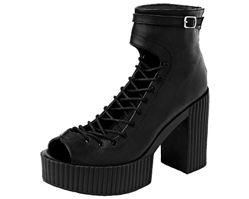 k Boots Yuni Heeled Women's Gladiator Shoes Black u T vWUn8q58