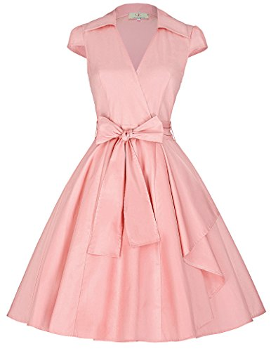 Puff Sleeve Wrap (Womens Retro Pink Cap Sleeves Cocktail Party Dresses)
