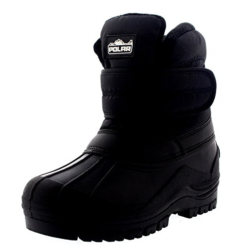 Unisex Kids Thermal Outdoor Walking Nylon Waterproof Single Strap Boots - Black - US3/EU35 - - Childrens Boots Walking