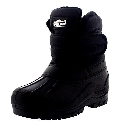 Unisex Kids Thermal Outdoor Walking Nylon Waterproof Single Strap Boots - Black - US3/EU35 - - Walking Childrens Boots