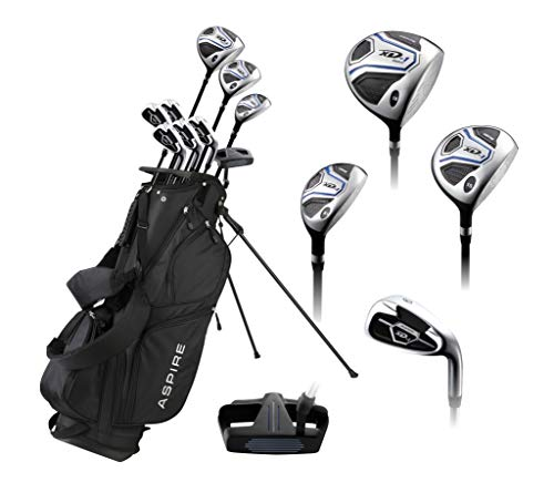 Aspire XD1 Men's Complete Golf Clubs Package Set Includes Titanium Driver, S.S. Fairway, S.S. Hybrid, S.S. 6-PW Irons, Putter, Bag, 3 H/C's Right Hand - Blue - Choose Size! (Regular Size, Right Hand) (Sets Golf Aspire Club Men)