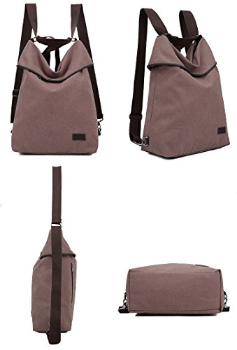 Purse Women Canvas Bag Khaki Daypack Backpack Shoulder DLMBB Multifunction Travel Casual Crossbody YHq6wYd