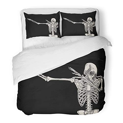 Emvency Decor Duvet Cover Set Twin Size Skeleton of Human Dancing Dab on Perform Dabbing Move Gesture Posing 3 Piece Brushed Microfiber Fabric Print Bedding Set -