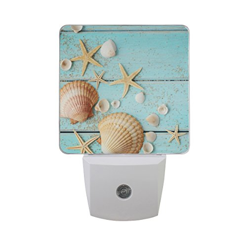 Three Light Seashell - JOYPRINT Led Night Light Summer Beach Ocean Sea Shell Starfish, Auto Senor Dusk to Dawn Night Light Plug in for Kids Baby Girls Boys Adults Room
