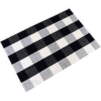 Amazon Com Black And White Plaid Rugs Washable Handmade