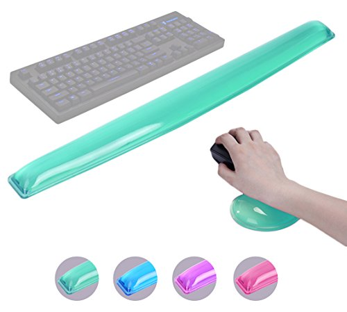 ABRONDA Silicone Gel Keyboard Mouse Wrist Rest Set - Gel Keyboard Wrist Rest Pad & Mouse Wrist Rest Support for Office Gaming Computer Laptop Ergonomic Comfortable Pain Relief(Green Pad Set)