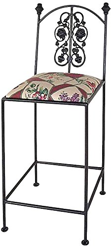 Grace Collection Iron Bar Stools (Grace Collection Rose Garden bar Stool in Antique Bronze Finish, Blueberry)