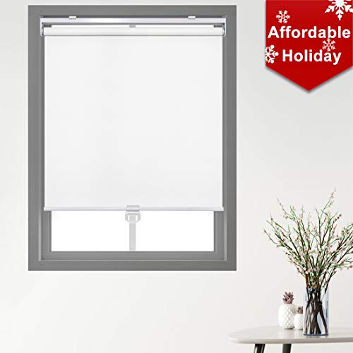 Keego Cordless Roller Blinds and Shades for Windows – Blackout Spring Roller Shades – Cordless Privacy Room Darkening Window Cover for Home & Office [White 100% Blackout,34″ W x 72″ H(Inch)]