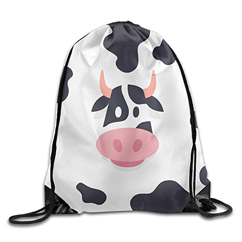 Cow Creative Cool Pattern DIY Printed Drawstring Bags Portable Backpack Pocket Bag Travel Sport Gym Bag Yoga Runner Daypack