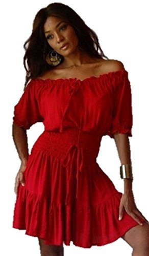 Lotustraders Dress Mini Top Peasant Smock Ruffle Blood Red Small