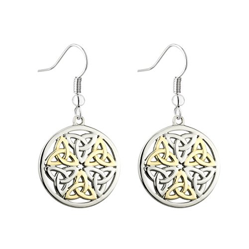 (Trinity Knot Earrings Two Tone Made in Ireland)