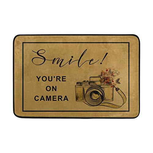 ZYGCMYX Entrance Doormat Smile You're On Camera Indoor/Outdoor Decor Rug Doormat Non-Slip Home Decor ()