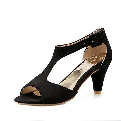 ZHZNVX Sandalias de mujer sandalias nuevas boca de pez sexy zapatos de tacón alto en forma de T de mujer sandalias simples Black