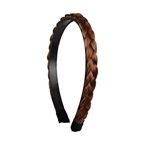 Auburn Blend 1/2 Inch Plait Braided Hard Headband Hair Bands (Motique Accessories)