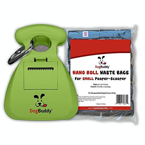 DogBuddy New Pooper Scooper - Portable - Dog Waste Bag Dispenser & Dog Leash Clip Included (Small Set, Kiwi)