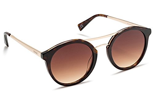 Beach Gal Round Double-Bridge Sunglasses for Women, UV400 Protection - With Triangular Foldable Case - BROWN Lens, BROWN/GOLD - Luxury Outlet Sunglasses