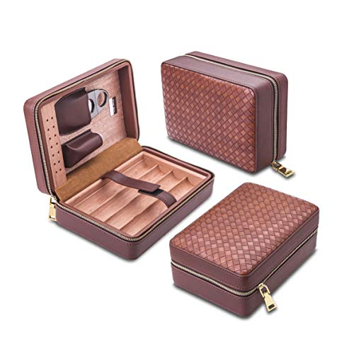 Free Boy Portable Cigar Travel Case,Cedar Wood Cigar Case,Equiped with Humidifier, Cigar Cutter, Dropper and Pouch