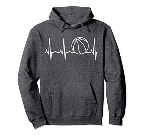 Hooded Basketball (Unisex Basketball Hoodie - Basketball Heartbeat Hooded Sweatshirt Large Dark Heather)