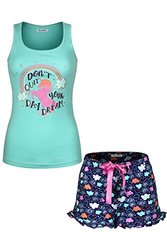 Racerback Tank Pajama (SofiePJ Women's Printed Cotton Pajama Set Jersey Racerback Tank Top with Short Pants Aqua Navy S)