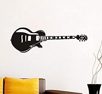Arte diseño decoración del hogar vinilo guitarra eléctrica etiqueta de la pared diy instrumento musical decoración del hogar música rock sala decoración ...