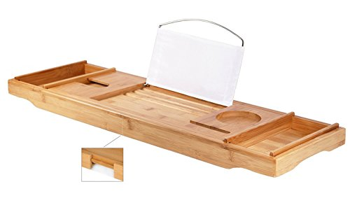 DOZYANT Luxury Bamboo Bathtub Caddy Tray - Wide Wine Glass Holder - Reading Shelf Suitable for Freestanding,Store All Bathtub Accessories - Bathtub (Caddy Store Hot Tub Spa)