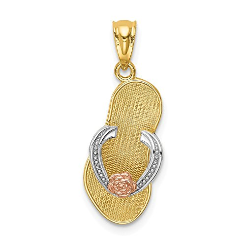 14k Yellow Rose Sandal Pendant Charm Necklace Sea Shore Sal Fine Jewelry Gifts For Women For Her