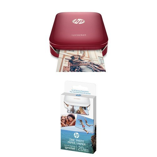 Hp Sprocket Portable Photo Printer (red) With Additional 40 Sheets Zink Sticky-backed Photo Paper