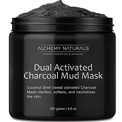 Alchemy 100% Natural Premium Spa Quality Dual Activated Age Defying Charcoal Mud Mask Facial Treatment Cleanser Minimizer for, Acne, Blackheads, Scars, Cellulite - 8.8oz