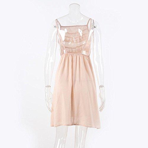 Damen Sommerkleid, Bekleidung Longra Damen ärmellose Mini Polyester Kleider Damen Quaste Sommer Strandkleid Khaki