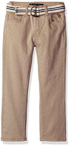 U.S. Polo Assn. Little Boys' 5 Pocket Belted Stretch Twill Pant, Light Khaki-Fkfd, 7