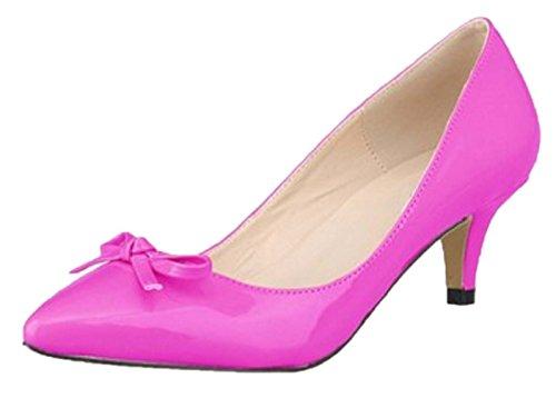 HooH Women's Pointed Toe Sweet Bowknot Kitten Pumps-Purple-41 TGL6p