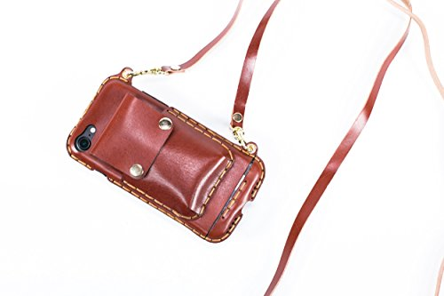 Cell Phone Lanyard Strap iPhone 7/iPhone 8 Cell Phone Case, Leather Crossbody Bag CHESTNUT Mini Phone Pouch with Shoulder Strap for iPhone 7 iPhone 8 Chestnut