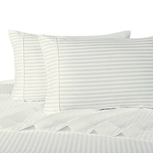 Ultra Soft & Exquisitely Smooth Genuine 100% Plush Cotton 800 TC Sheet Set by Pure Linens, Lavish Sateen Stripes, 4 Piece Queen Size Deep Pocket Sheet Set, White